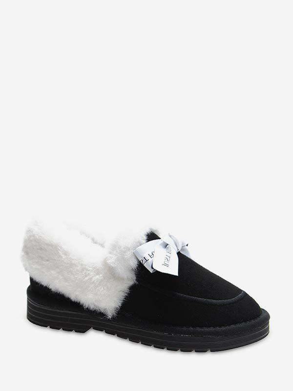 Buy Sweet Bowknot Fuzzy Collar Snow Boots