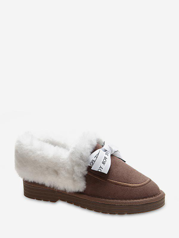 Sale Sweet Bowknot Fuzzy Collar Snow Boots