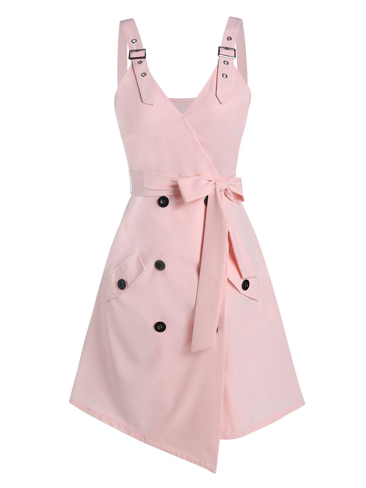 Button Wrap Belted Mini Cami Dress фото