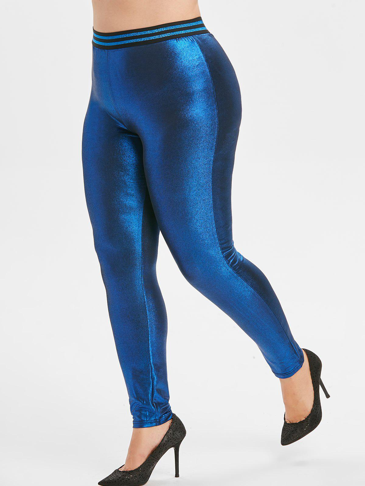 Plus Size Striped Baudrier Leggings métallique Bleu 4X