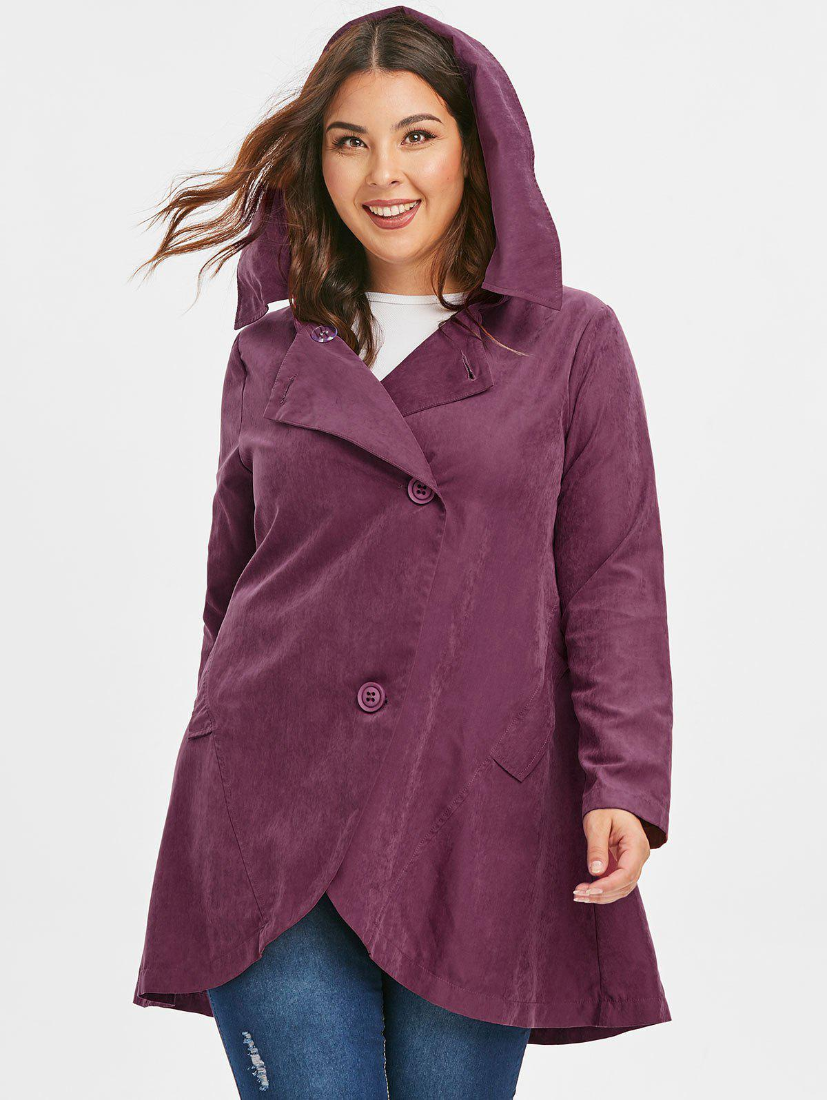Cheap Plus Size Button Hooded Coat