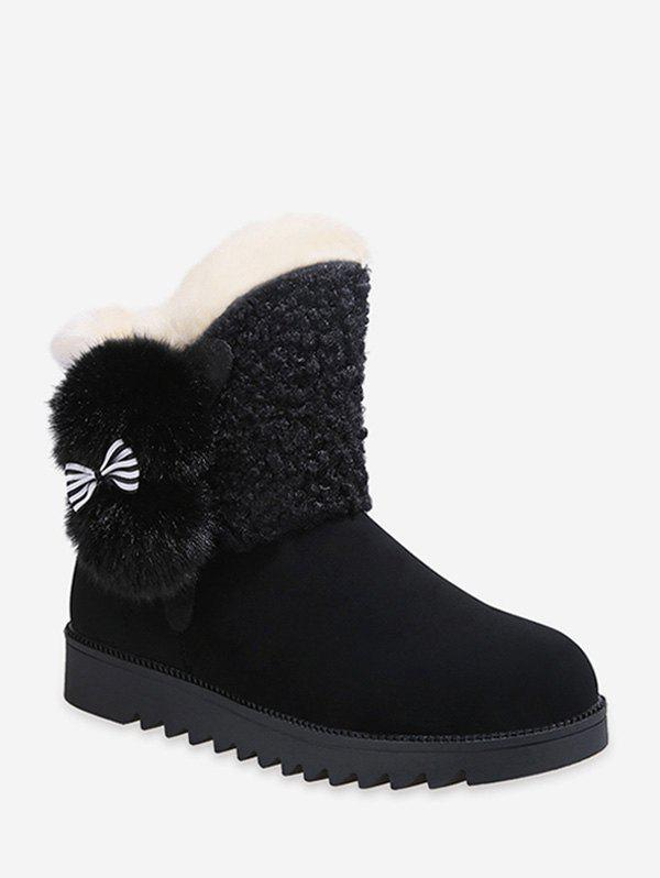 Outfits Bow Detail Faux Fur Fleece Mid-calf Boots