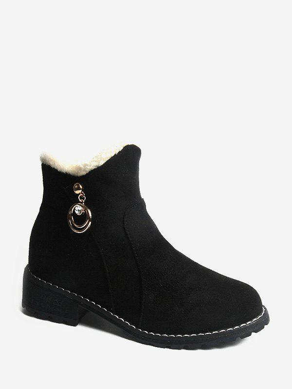 Hot Rhinestone O-ring Embellished Suede Ankle Boots