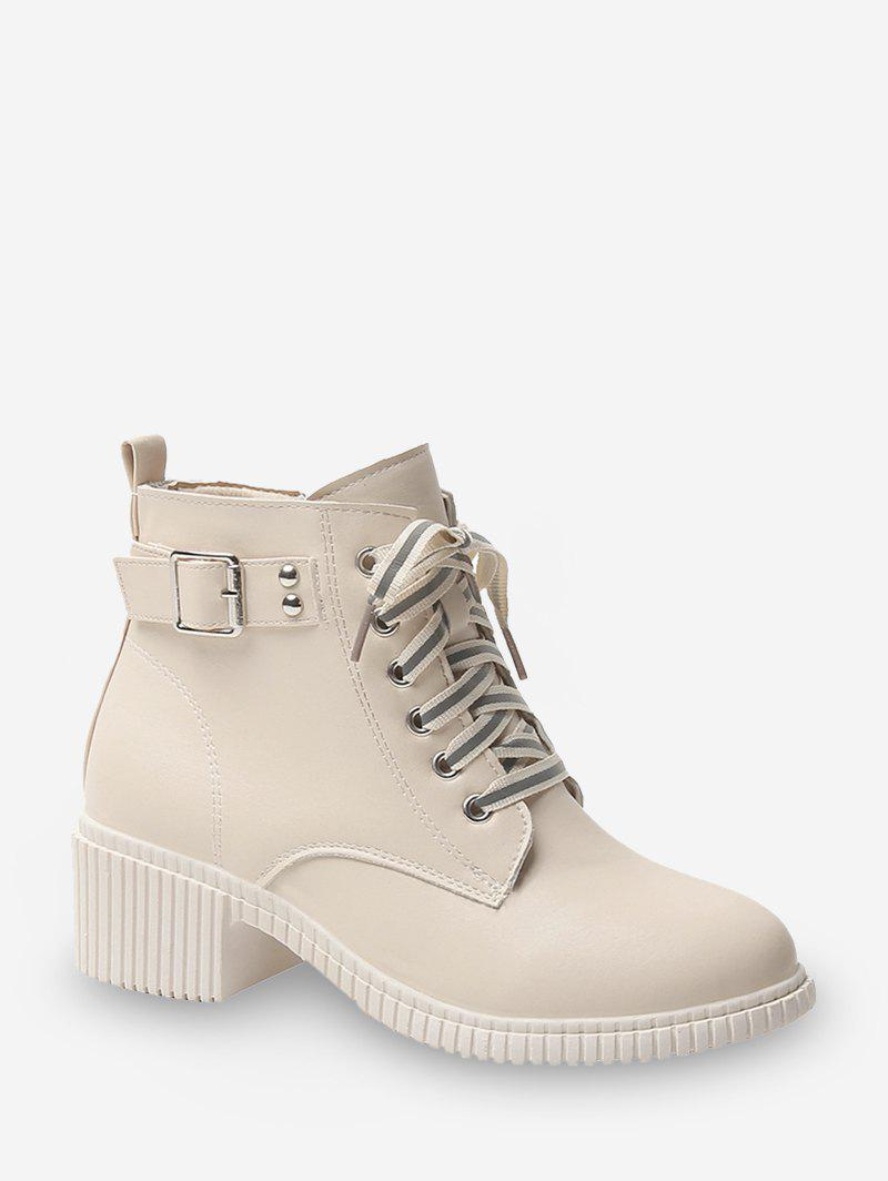 Affordable Buckled Lace Up Leather Cargo Boots