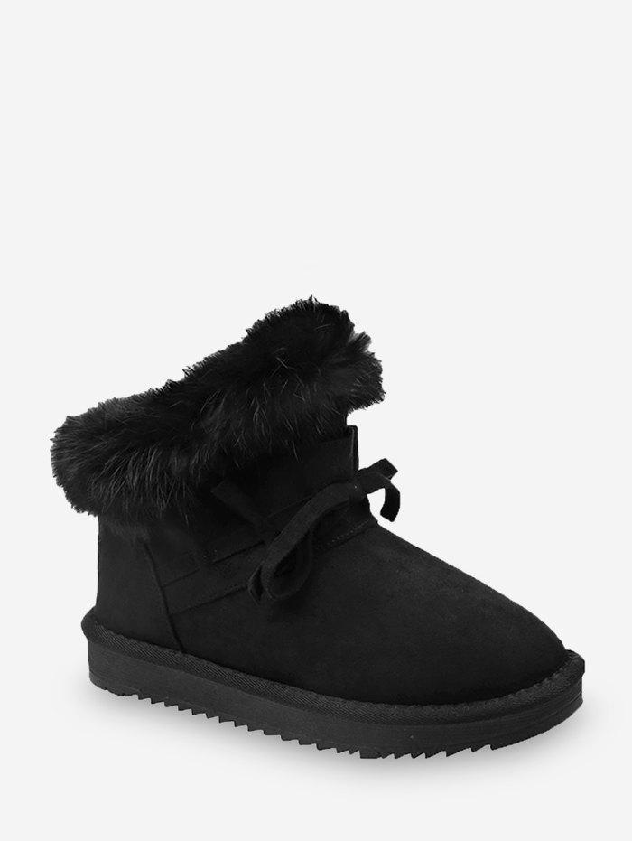 Store Bowknot Ruched Faux Fur Suede Snow Boots