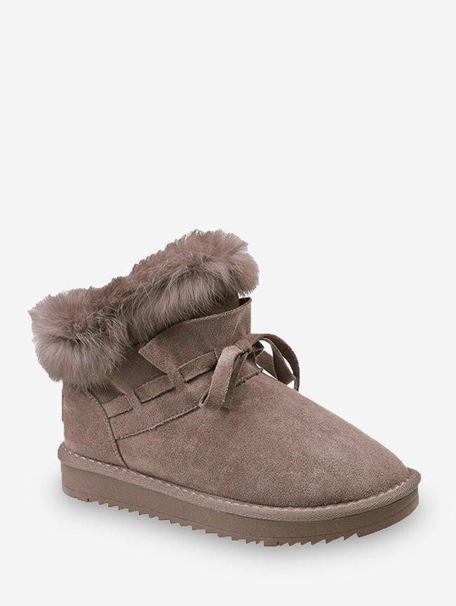 Latest Bowknot Ruched Faux Fur Suede Snow Boots
