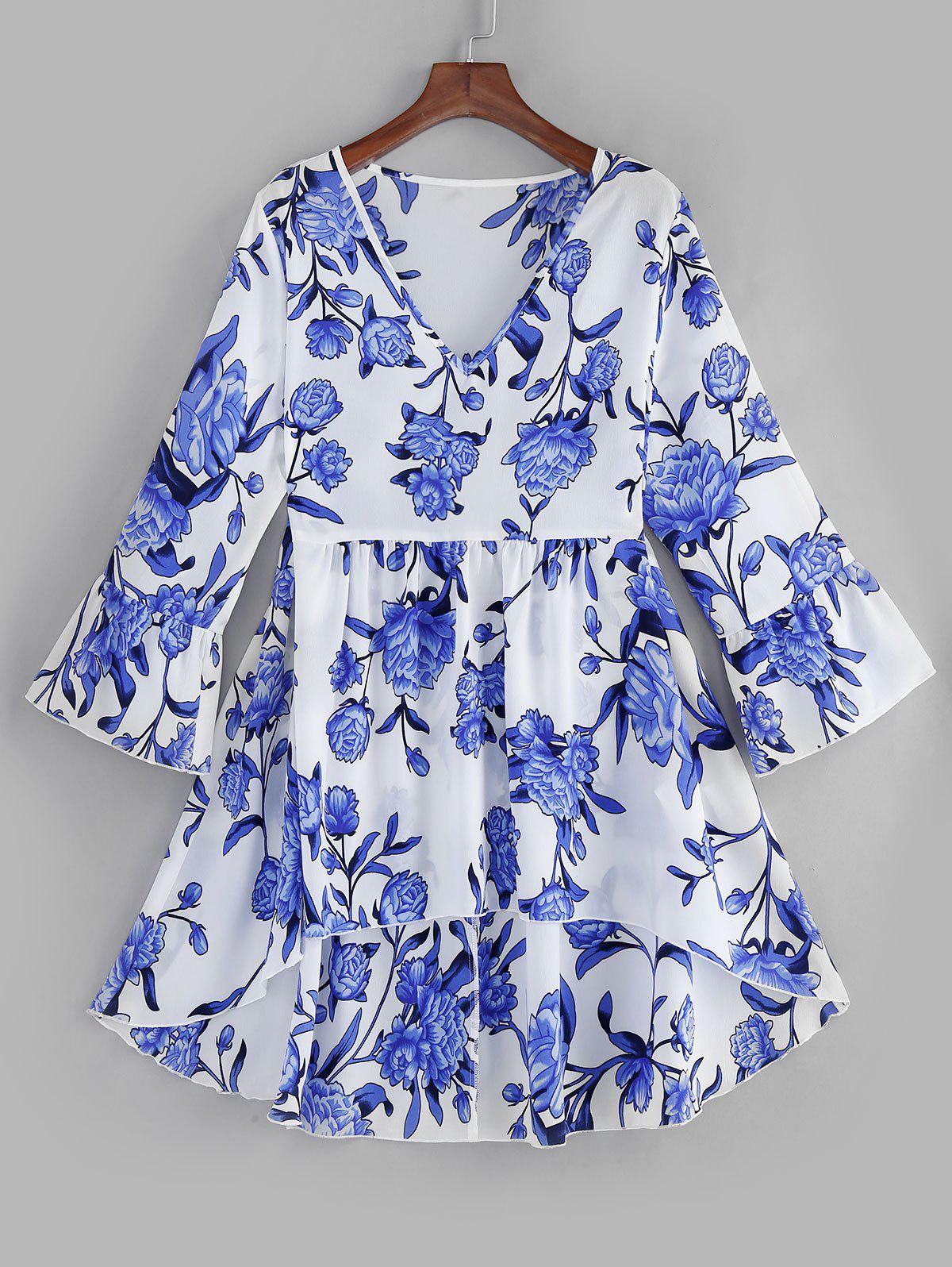 Fashion Plus Size Flare Sleeves High Low Floral Blouse