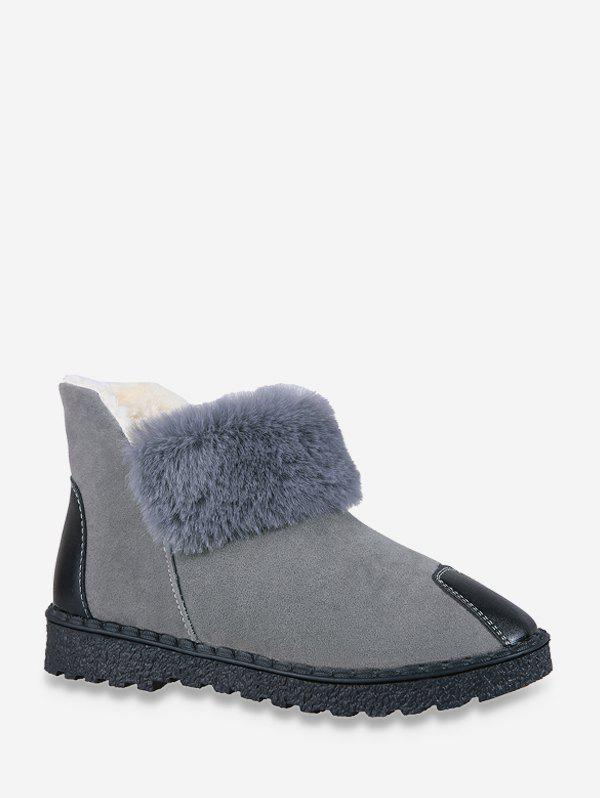 Affordable PU Leather Panel Faux Fur Fleece Snow Boots