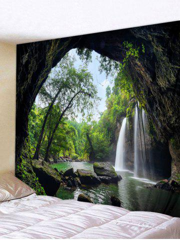 Printed Waterfall Tree Cave Brushed Tapestry - MEDIUM FOREST GREEN - W79 X L59 INCH