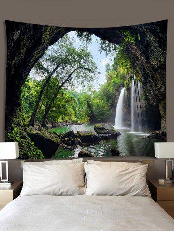 Printed Waterfall Tree Cave Brushed Tapestry, Medium forest green