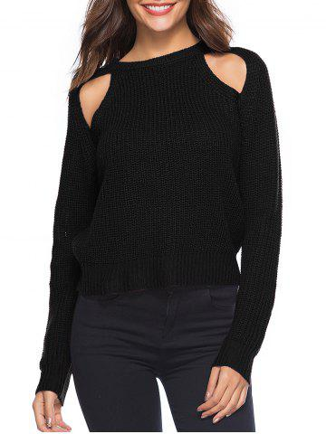 Cut Out Solid Casual Sweater - BLACK - XL