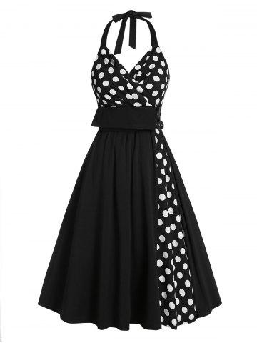 Polka Dot Print Halter Buckle Strap Vintage Dress