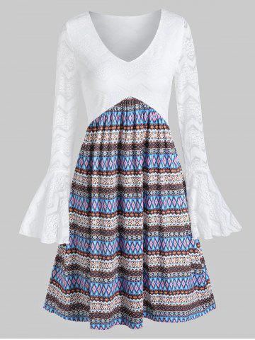 Robe en Dentelle Tribal Imprimé à Manches Cloches - WHITE - M