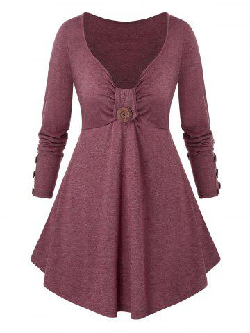 Plus Size Buttoned A Line Long Sleeve Tunic Tee