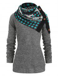 Christmas Plaid Elk Knitwear with Scarf -