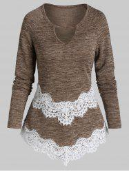 Lace Panel Pointed Hem Ribbed Knitwear -