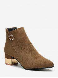 O-ring Detail Chunky Heel Ankle Boots -
