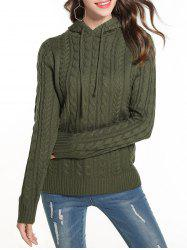Cable Knit Hooded Solid Sweater -