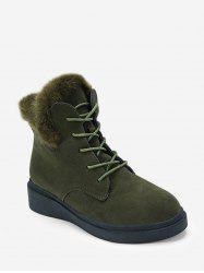 Solid Color Lace-up Fuzzy Boots -