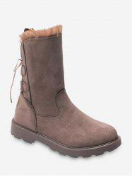 Back Lace Up Fleece Mid Calf Boots -