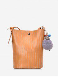 Pom Pom Vertical Quilted Leather Bucket Bag -