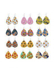 Sunflower Print Tear Drop Earrings Set -