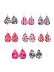 8Pairs Valentine Heart Lips Leather Earrings Set -