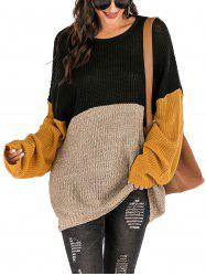 Surdimensionné Colorblock Tunique Pull -