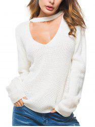 Solid Color Keyhole Casual Sweater -