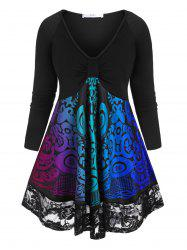 Plus Size Tribal Print Knotted Lace Trim T Shirt -