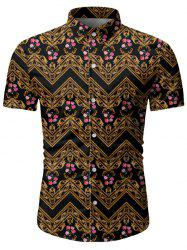 Floral Baroque Pattern Short Sleeves Shirt -