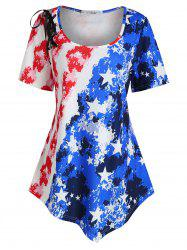 Plus Size American Flag Print Lace Up T Shirt -