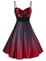 Plus Size Sparkly Sequined Ombre Cami Mini Prom Dress -