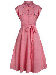 Double Pockets Half Button Belted Flare Dress -