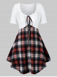 Plus Size Plaid Tie Curved Casual Tunic Tee -
