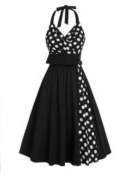 Polka Dot Print Halter Buckle Strap Vintage Dress -