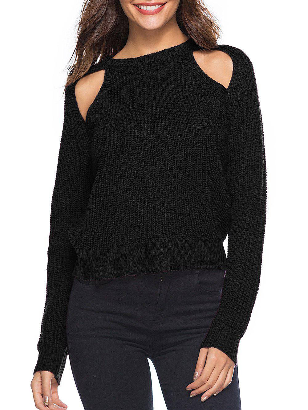 Shops Cut Out Solid Casual Sweater