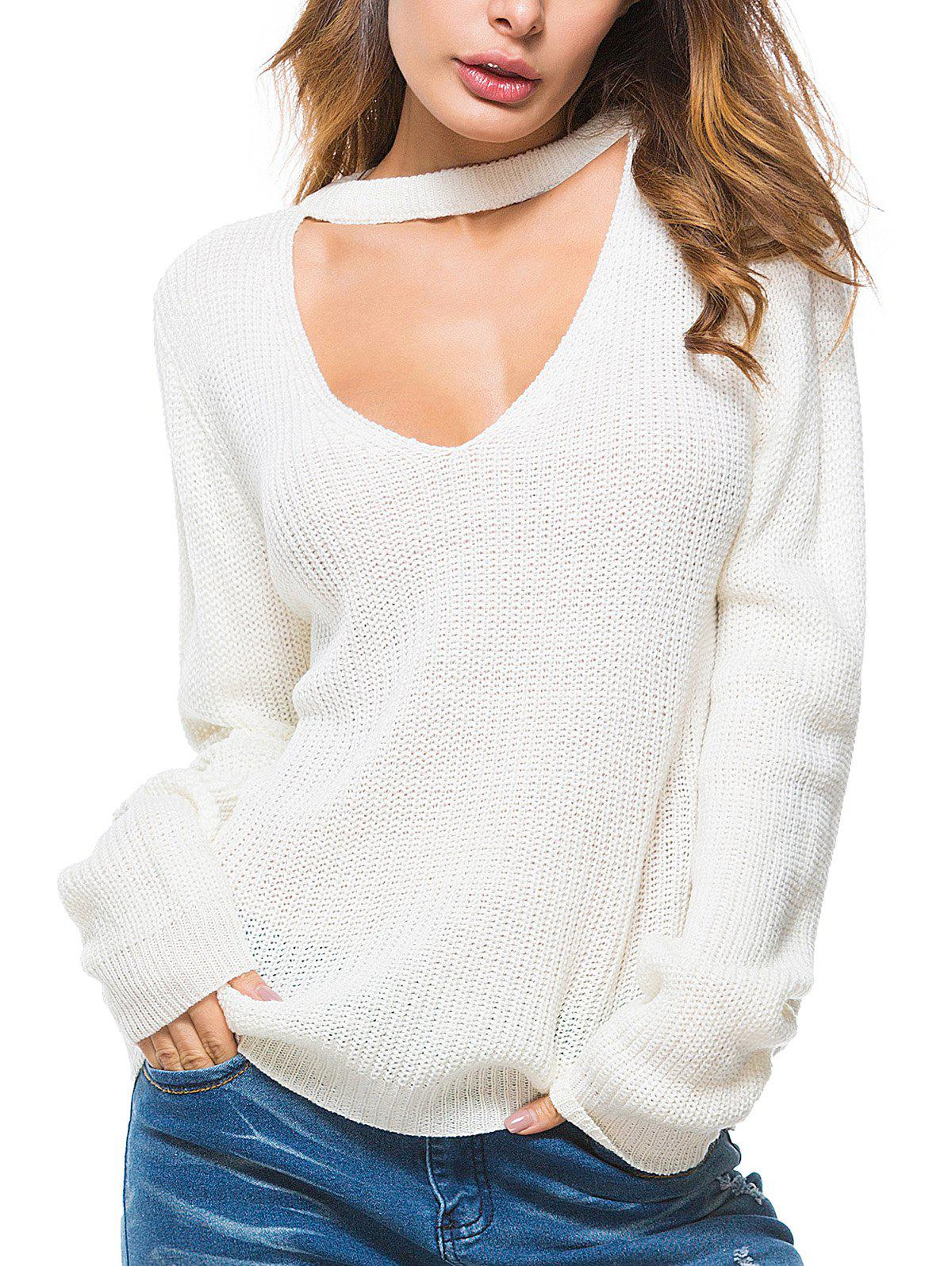 Affordable Solid Color Keyhole Casual Sweater