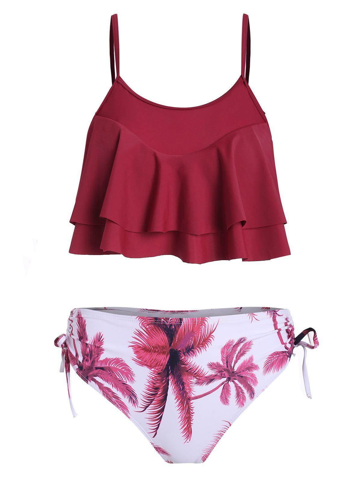 Store Palm Tree Cinched Knotted Tankini Set