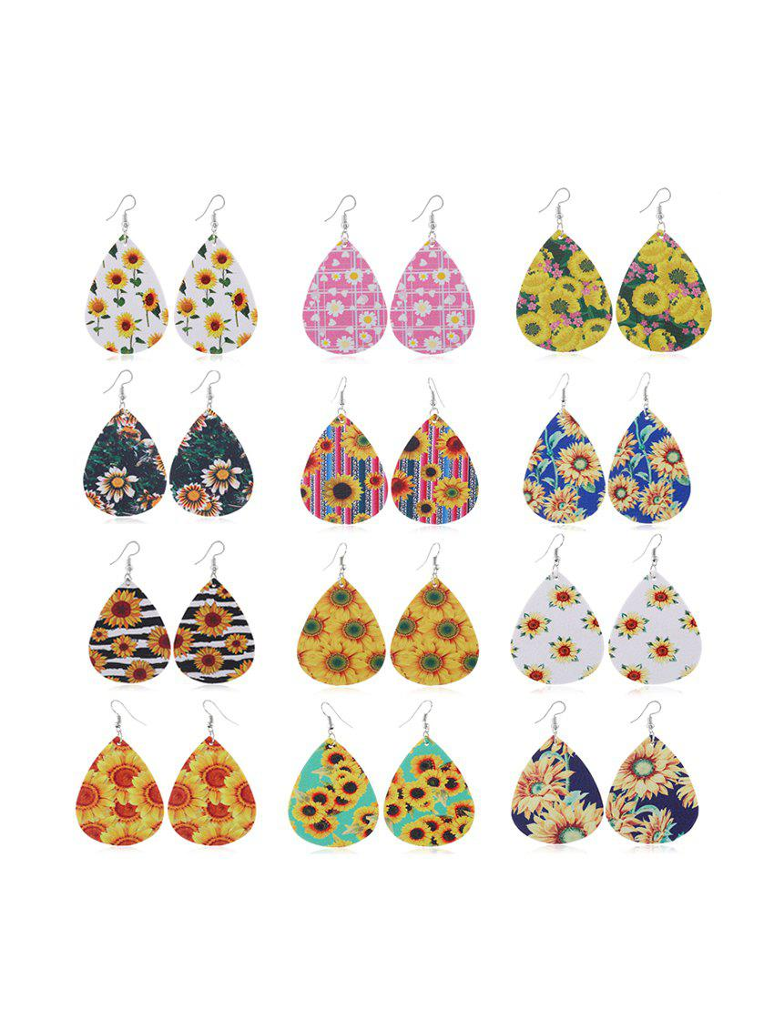 Hot Sunflower Print Tear Drop Earrings Set