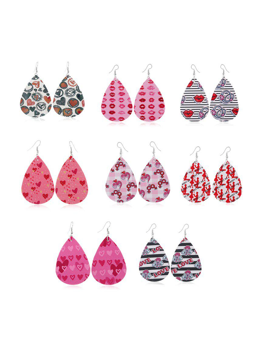 Fashion 8Pairs Valentine Heart Lips Leather Earrings Set