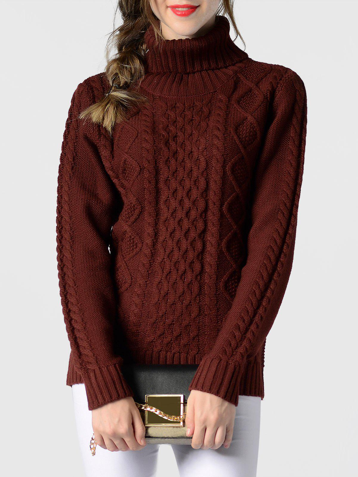 Latest Cable Knit Turtleneck Pullover Sweater