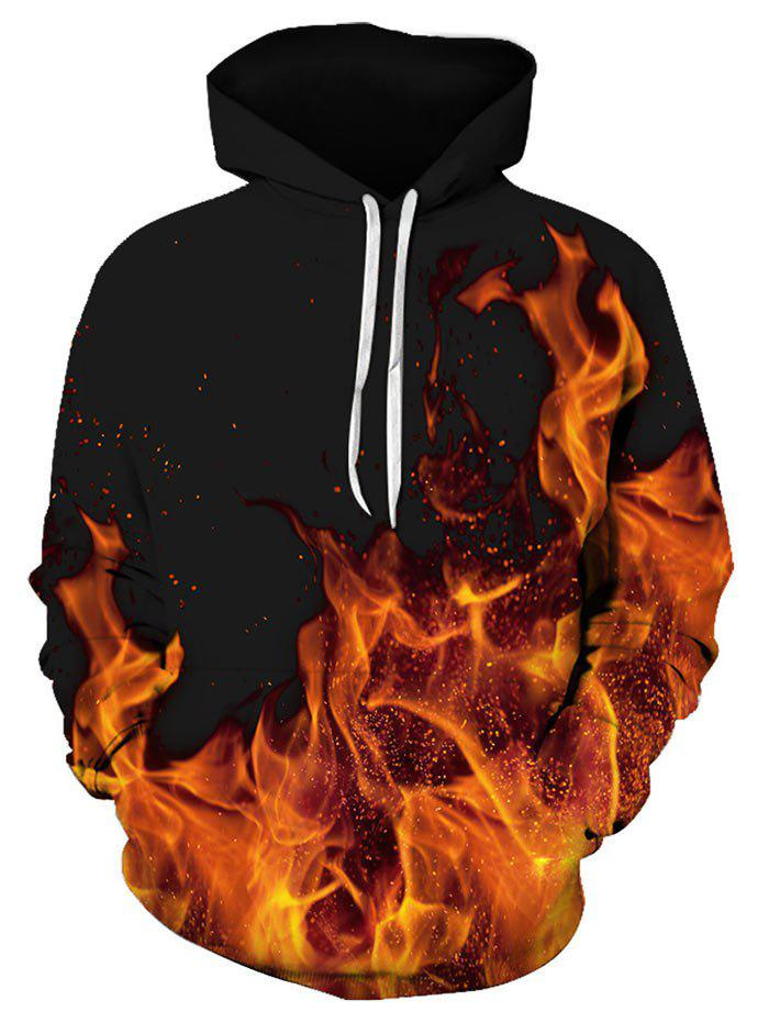 Unique Flame Pattern Kangaroo Pocket Hoodie