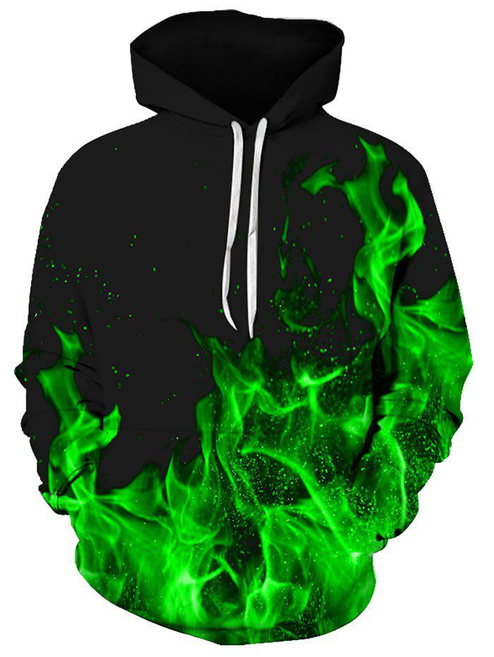 Hot Flame Pattern Kangaroo Pocket Hoodie