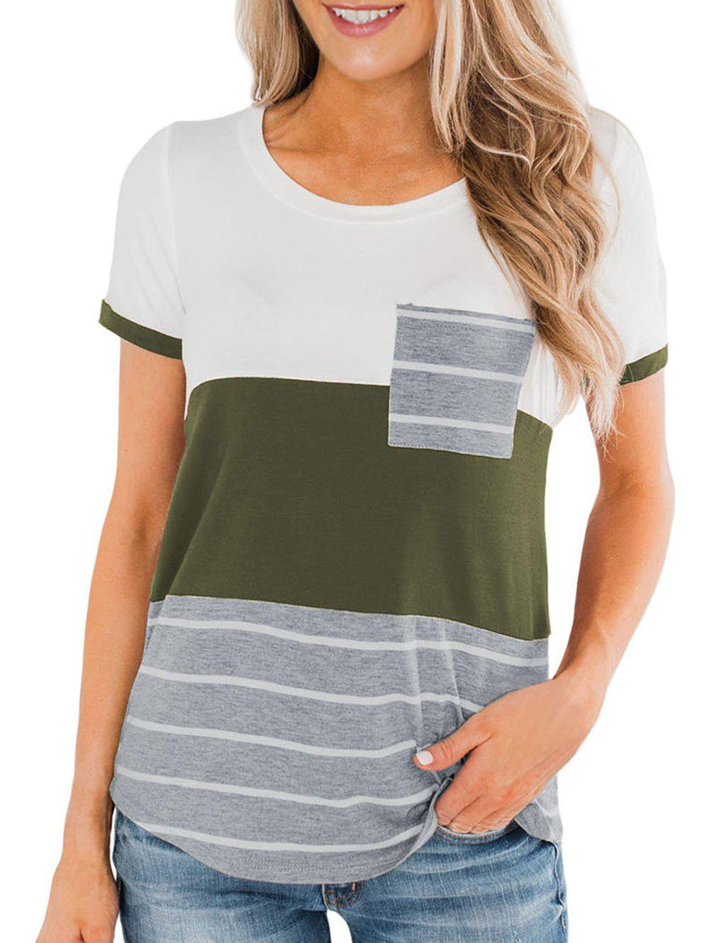 Outfit Pocket Striped Casual T-shirt