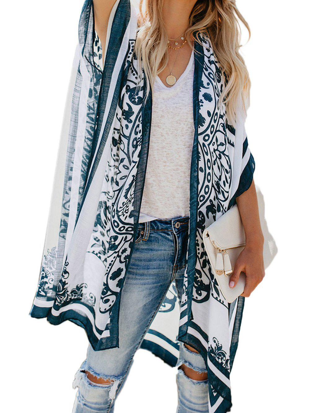 Collarless Batwing Sleeve Slit Beach Cover Up фото