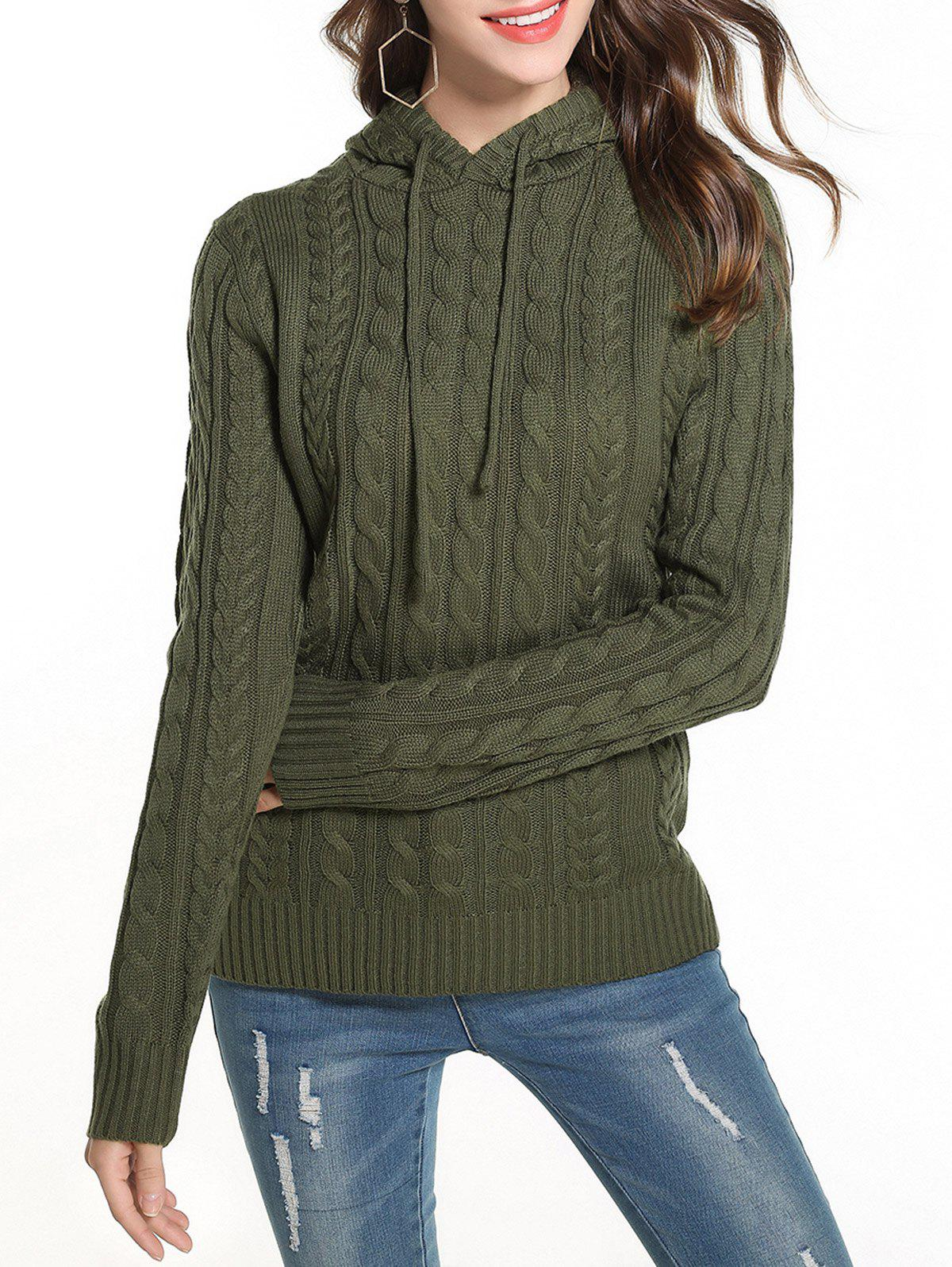 Discount Cable Knit Hooded Solid Sweater