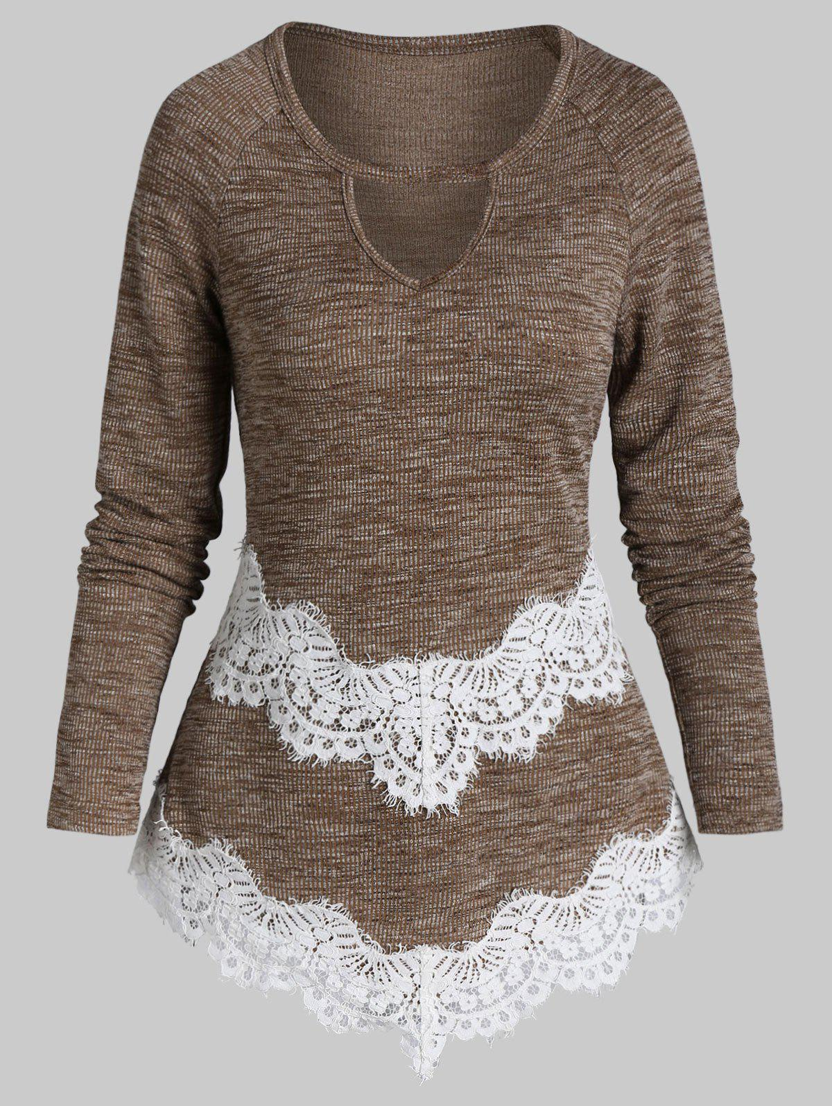 Buy Lace Panel Pointed Hem Ribbed Knitwear