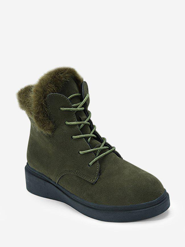 Shop Solid Color Lace-up Fuzzy Boots