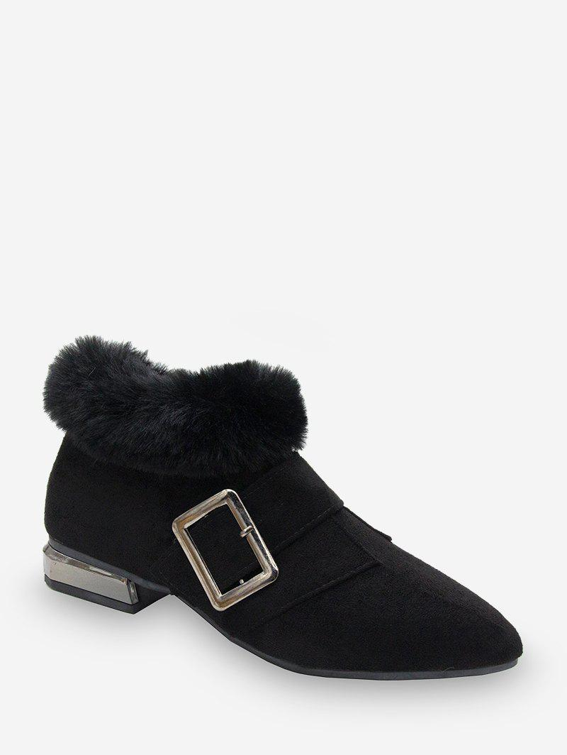 Chic Buckle Strap Fuax Fur Trim Ankle Boots